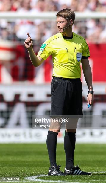 Referee Christian Dingert gestures during the Second Bundesliga match between VfB Stuttgart and Karlsruher SC at MercedesBenz Arena on April 9 2017...