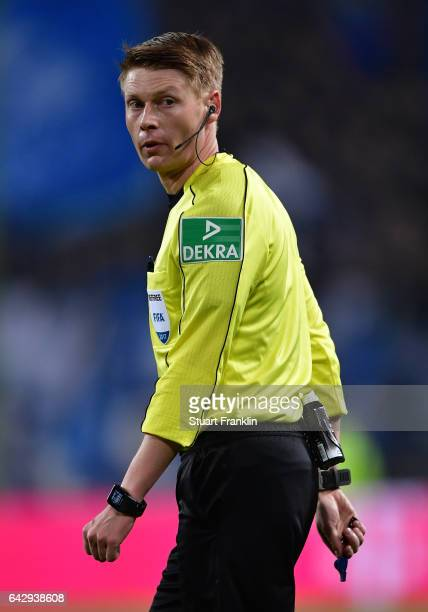 Referee Christian Dingert looks on during the Bundesliga match between Hamburger SV and SC Freiburg at Volksparkstadion on February 18 2017 in...