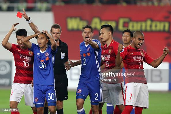 Referee Christopher Beath shows a red card to Wong Tsz Ho of Eastern during 2017 AFC Asian Champions League group match between Guangzhou Evergrande...