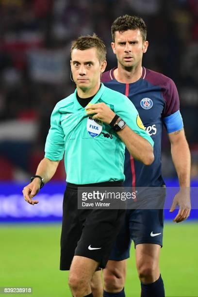 Referee Clement Turpin during the Ligue 1 match between Paris Saint Germain and AS Saint Etienne at Parc des Princes on August 25 2017 in Paris