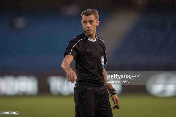 Referee Clement Turpin of France during the FIFA U17 World Cup India 2017 group A match between Colombia and Ghana at Jawaharlal Nehru Stadium on...