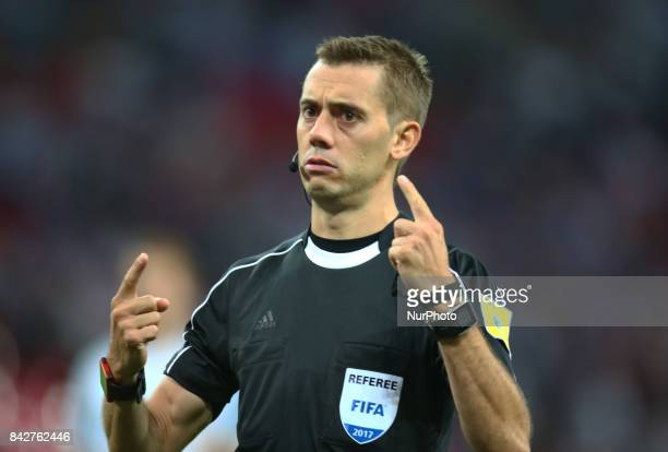Referee Clement Turpin of France during World Cup Qualifying European Group F match between England and Slovakia at Wembley stadium London on 05 Sept...