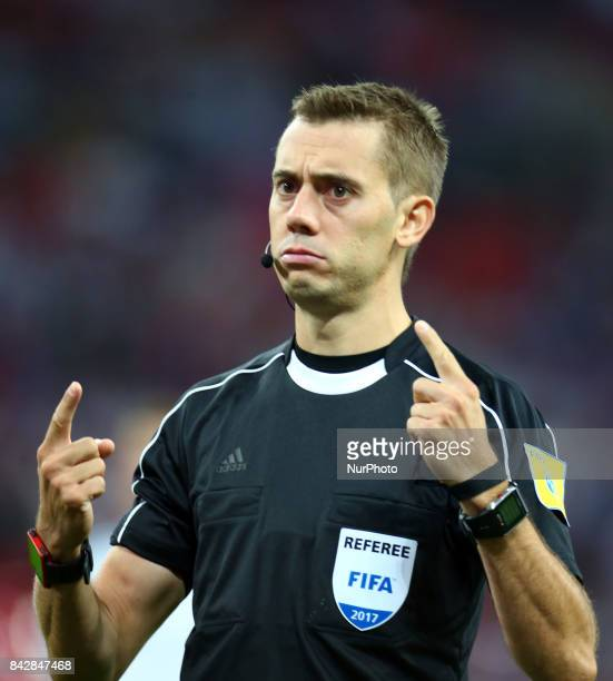 Referee Clement Turpin of France during World Cup Qualifying European Group F match between England and Slovakia at Wembley stadium in London England...
