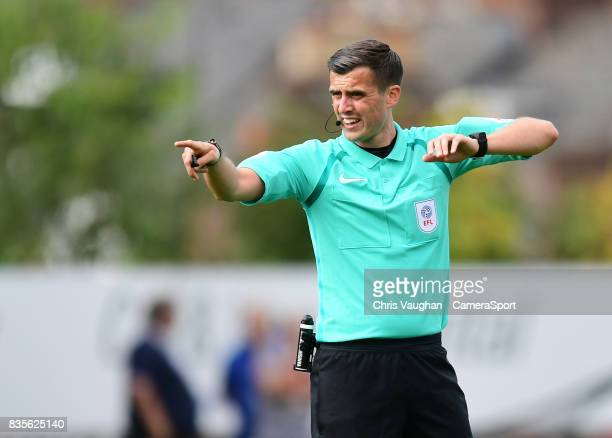 Referee Craig Hicks during the Sky Bet League Two match between Exeter City and Lincoln City at St James Park on August 19 2017 in Exeter England