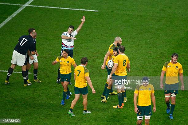 Referee Craig Joubert awards Australia a late match winning penalty during the 2015 Rugby World Cup Quarter Final match between Australia and...