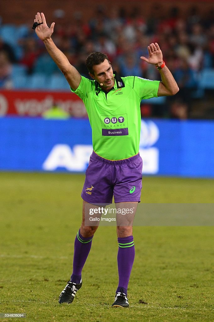 Referee Craig Joubert during the Super Rugby match between the Vodacom Bulls and Emirates Lions at Lotus Versfeld Stadium on May 28, 2016 in Pretoria, South Africa.