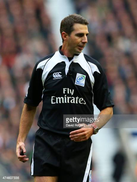 Referee Craig Joubert looks on during the RBS Six Nations match between England and Ireland at Twickenham Stadium on February 22 2014 in London...