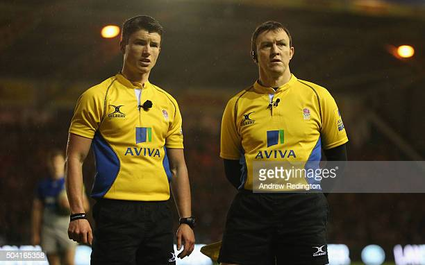 Referee Craig MaxwellKeys is pictured with another match official during the Aviva Premiership match between Harlequins and Saracens at the...