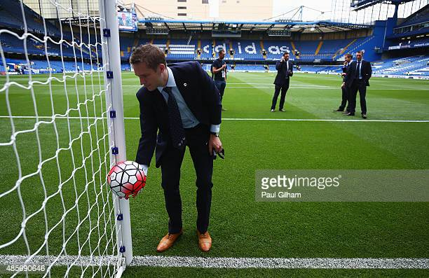 Referee Craig Pawson test the goal line technology ahead of the Barclays Premier League match between Chelsea and Crystal Palace on August 29 2015 in...