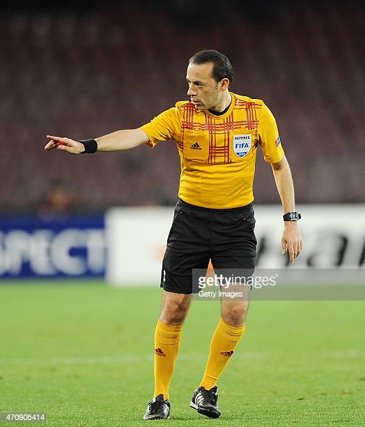 Referee Cuneyt Cakir during the UEFA Europa League quarterfinal second leg match between SSC Napoli and VfL Wolfsburg on April 23 2015 in Naples Italy