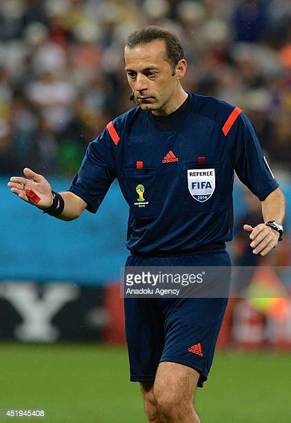 Referee Cuneyt Cakir is seen during the 2014 FIFA World Cup Brazil Semi Final match between the Netherlands and Argentina at Arena de Sao Paulo on...