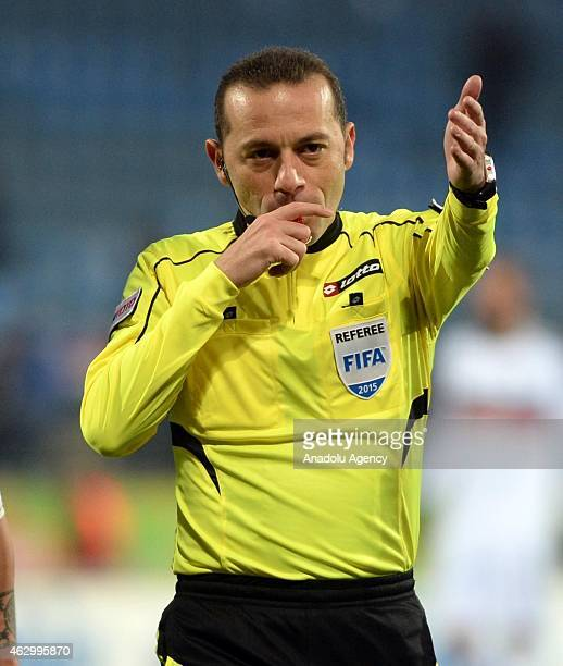Referee Cuneyt Cakir is seen during Turkish Spor Toto Super League football match between Caykur Rizespor and Besiktas in Rize Turkey on February 08...