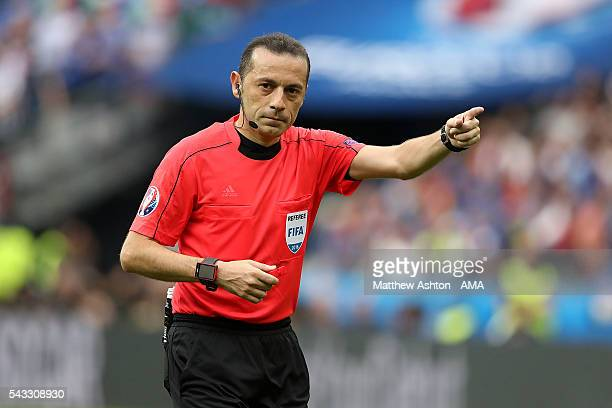 Referee Cunyet Cakir gestures during the UEFA Euro 2016 Round of 16 match between Italy and Spain at Stade de France on June 27 2016 in Paris France