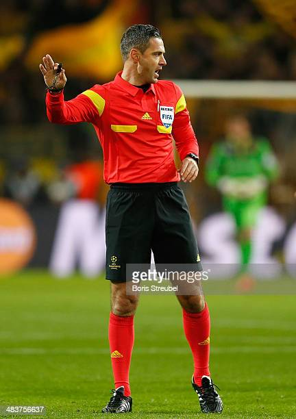 Referee Damir Skomania gestures during the UEFA Champions League Quarter Final second leg match between Borussia Dortmund and Real Madrid at Signal...