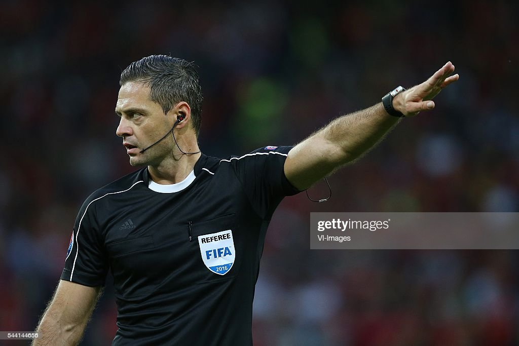 referee Damir Skomina during the UEFA EURO 2016 quarter final match between Wales and Belgium on July 2, 2016 at the Stade Pierre Mauroy in Lille, France.