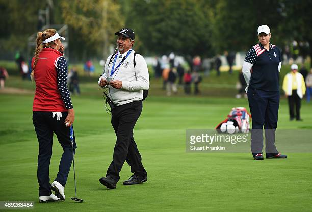 LPGA referee Dan Maselli tells Alison Lee of team USA that her putt is not conceeded on the 17th green and thus loosing the hole Playing partner...