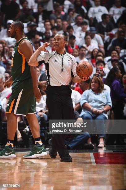 Referee Danny Crawford makes a call between the Utah Jazz and the LA Clippers during Game Seven of the Western Conference Quarterfinals of the 2017...
