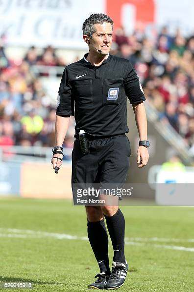 Referee Darren Bond in action during the Sky Bet League Two match between Northampton Town and Luton Town at Sixfields Stadium on April 30 2016 in...