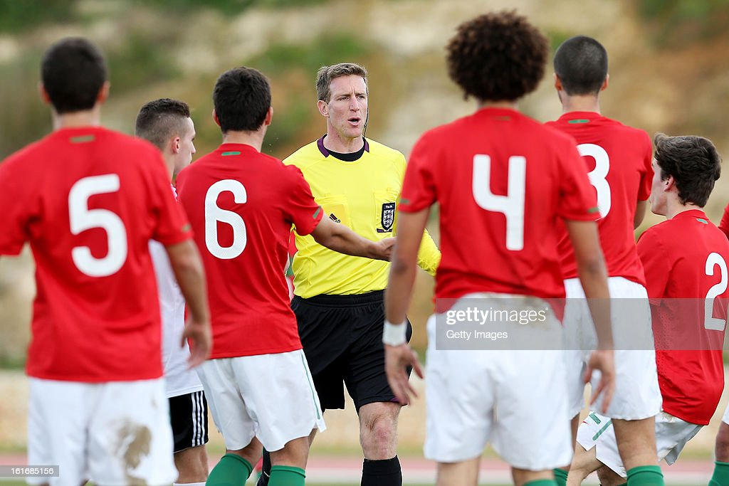Referee Darren Sheldrake during the Under17 Algarve Youth Cup match between U17 Portugal and U17 Germany at the Stadium Bela Vista on February 12, 2013 in Parchal, Portugal.