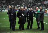 Referee Dave Pearson Ireland Coach Declan Kidney and France Coach Philippe Saint Andre talk just before kick off during the RBS 6 Nations match...