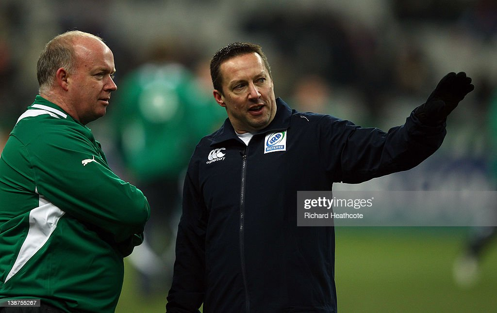 Referee Dave Pearson speaks Ireland coach Declan Kidney as the match is called off just before kick off due to a frozen pitch during the RBS 6 Nations match between France and Ireland at Stade de France on February 11, 2012 in Paris, France.