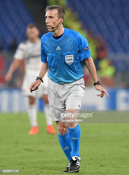 Referee David Fernandez Borbalan during the UEFA Champions League Group E match between AS Roma and PFC CSKA Moskva on September 17 2014 in Rome Italy