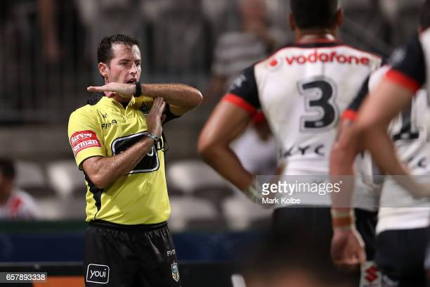 Referee David Munro calls for a video review during the round four NRL match between the St George Illawarra Dragons and the New Zealand Warriors at...