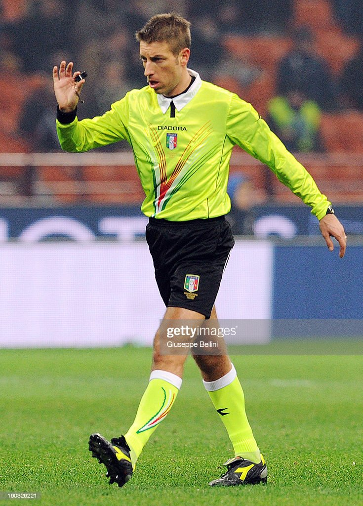 Referee Davide Massa during the Serie A match between FC Internazionale Milano and Torino FC at San Siro Stadium on January 27, 2013 in Milan, Italy.