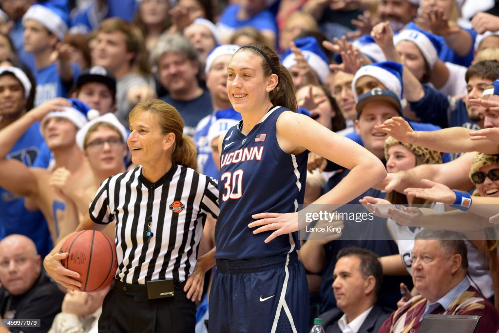 Referee Dee Kantner and <a gi-track='captionPersonalityLinkClicked' href=/galleries/search?phrase=Breanna+Stewart&family=editorial&specificpeople=8564806 ng-click='$event.stopPropagation()'>Breanna Stewart</a> #30 of the Connecticut Huskies share a laugh during their game against the Duke Blue Devils at Cameron Indoor Stadium on December 17, 2013 in Durham, North Carolina. Connecticut defeated Duke 83-61.
