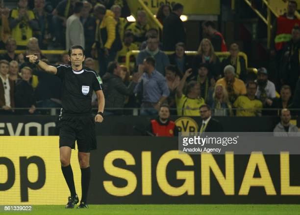 Referee Deniz Aytekin is seen during the Bundesliga soccer match between Borussia Dortmund and Rasenballsport Leipzig at Signal Iduna Park in...