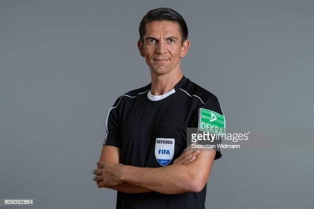 Referee Deniz Aytekin poses during the DFB referee team presentation on July 5 2017 in Grassau Germany