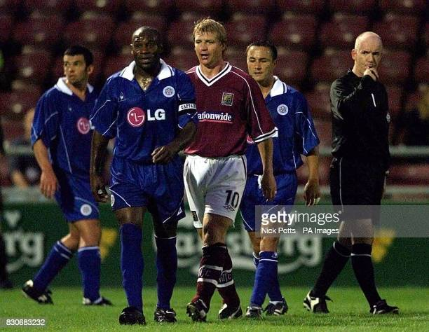 LEAGUE Referee Dermot Gallagher blows up to talk to Leicester City's Frank Sinclair and Northampton Town's Marco Gabbiadini after flare up between...