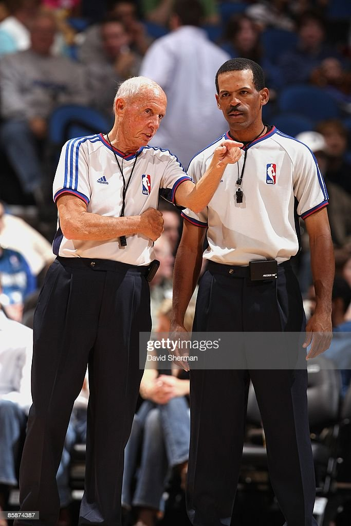 Referee Dick Bavetta and Eric Lewis during the game between the Charlotte Bobcats and the Minnesota Timberwolves on March 14 2009 at the Target...