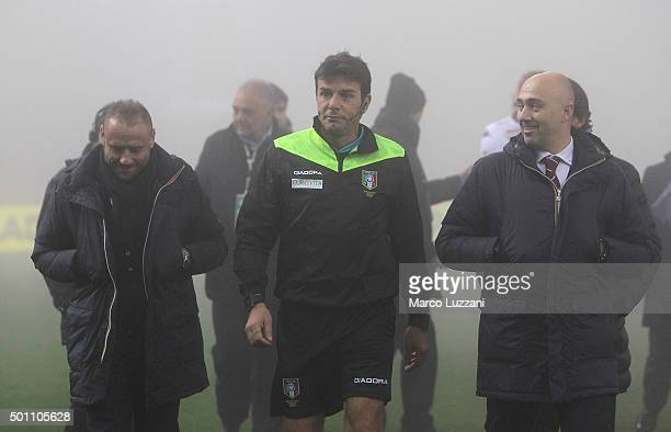 Referee Domenico Celi looks on before the Serie A match betweeen US Sassuolo Calcio and Torino FC suspended because of fog at Mapei Stadium Citta del...