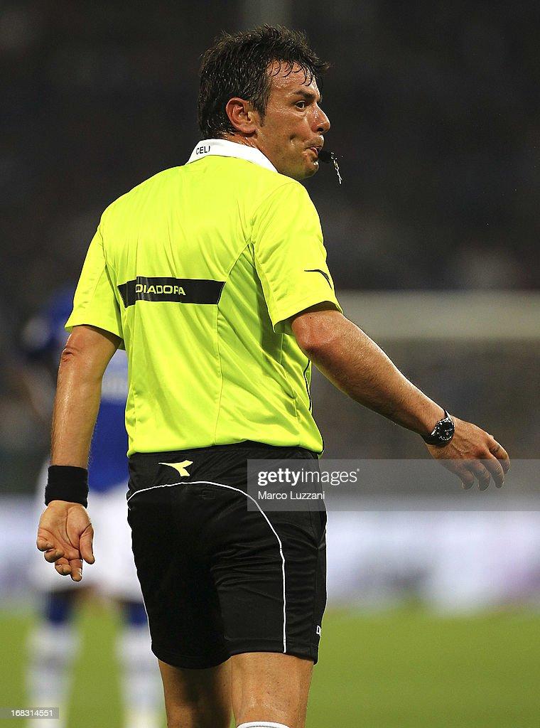 Referee Domenico Celi looks on during the Serie A match between UC Sampdoria and Calcio Catania at Stadio Luigi Ferraris on May 8, 2013 in Genoa, Italy.