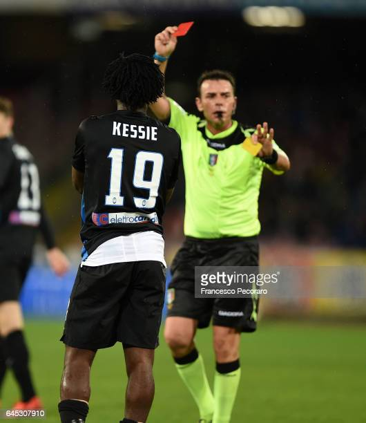 Referee Domenico Celi shows the red card to Frank Kessie during the Serie A match between SSC Napoli and Atalanta BC at Stadio San Paolo on February...
