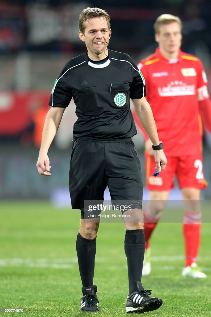 referee Dr. Jochen Drees during the game between 1 FC Union Berlin and 1 FC Nuernberg on March 20, 2017 in Berlin, Germany.