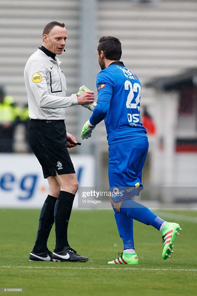 referee Ed Janssen, goalkeeper Tom Muyters of Excelsior during the Dutch Eredivisie match between Excelsior Rotterdam and ADO Den Haag at Woudenstein stadium on February 14, 2016 in Rotterdam, The Netherlands