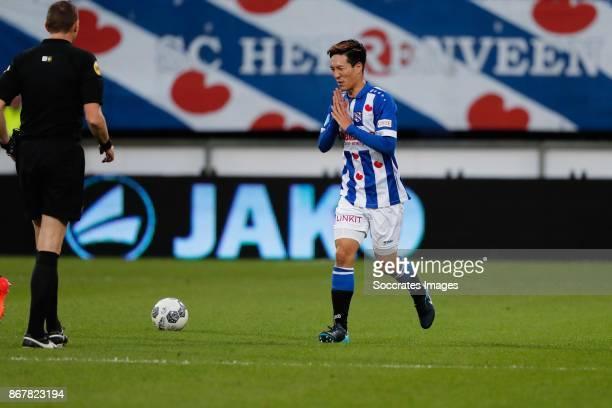 Referee Ed Janssen *Yuki Kobayashi* of SC Heerenveen during the Dutch Eredivisie match between SC Heerenveen v AZ Alkmaar at the Abe Lenstra Stadium...