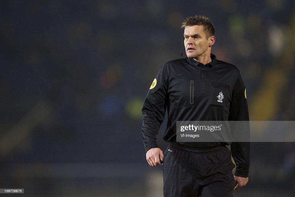 referee Eric Braamhaar during the Dutch Eredivise match between NAC Breda and VVV-Venlo at the Rat Verlegh Stadium on January 19, 2013 in Breda, The Netherlands.