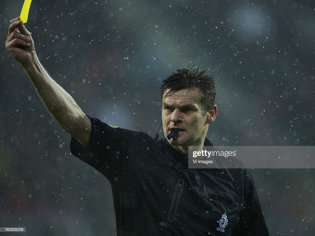 referee Eric Braamhaar during the Dutch Eredivisie Match between AZ Alkmaar and NAC Breda at the AFAS Stadium on february 24, 2013 in Alkmaar, The Netherlands