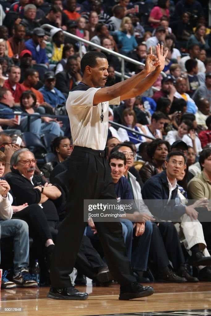 Referee Eric Lewis makes a call during the game between the Denver Nuggets and the Atlanta Hawks on November 7 2009 at Philips Arena in Atlanta...