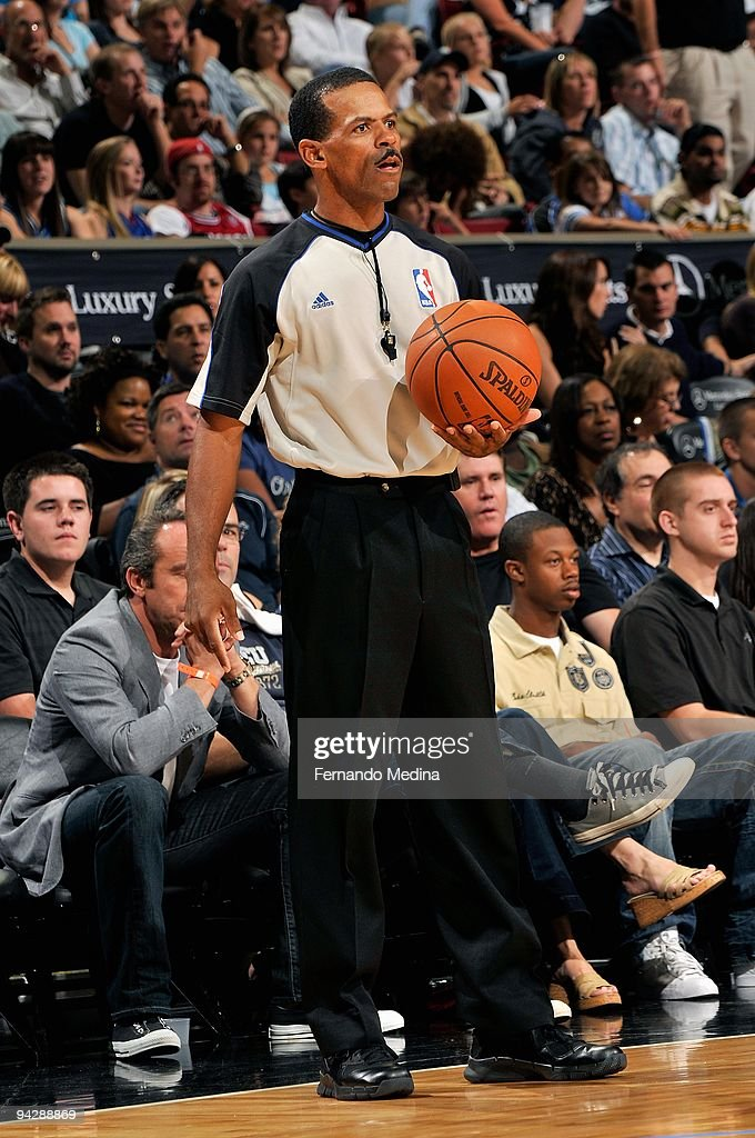 Referee Eric Lewis stands near the side line during the game between the Detroit Pistons and the Orlando Magic on November 6 2009 at Amway Arena in...