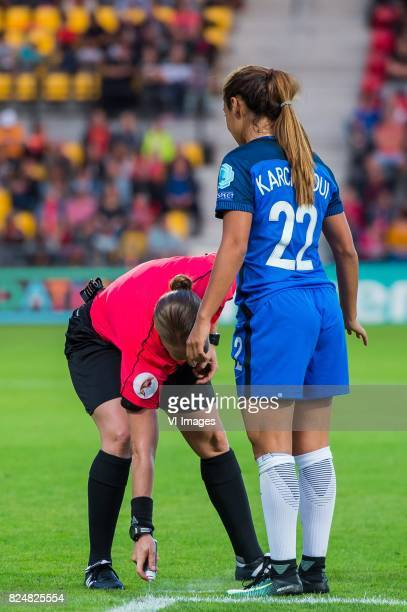 referee Esther Staubli Sakina Karchaoui of France women during the UEFA WEURO 2017 quarter finale match between England and France at The...