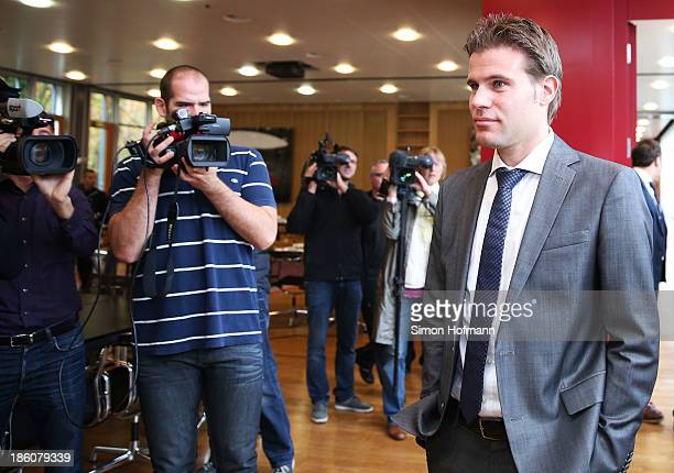 Referee Felix Brych attends the DFB Federal Court proceeding at DFB headquarters on October 28 2013 in Frankfurt am Main Germany The hearing will...