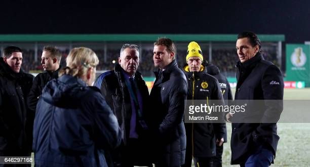 Referee Felix Brych is checking the pitch condition before the DFB Cup quarter final match between Sportfreunde Lotte and Borussia Dortmund at...