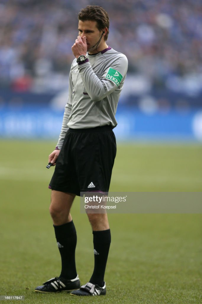Referee Felix Brych is seen during the Bundesliga match between FC Schalke 04 and TSG 1899 Hoffenheim at Veltins-Arena on March 30, 2013 in Gelsenkirchen, Germany.