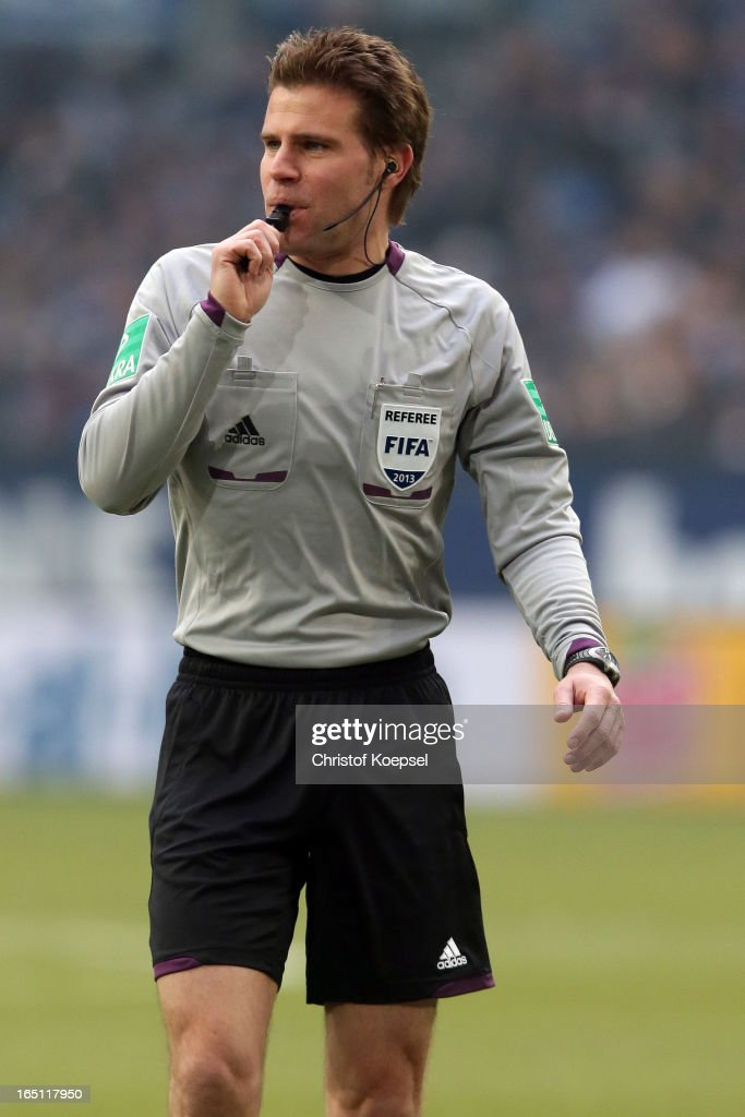 Referee Felix Brych is seen during the Bundesliga match between FC Schalke 04 and TSG 1899 Hoffenheim at Veltins-Arena on March 30, 2013 in Gelsenkirchen, Germany.