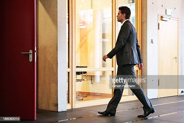 Referee Felix Brych leaves the court room after his hearing during the DFB Federal Court proceeding at DFB headquarters on October 28 2013 in...