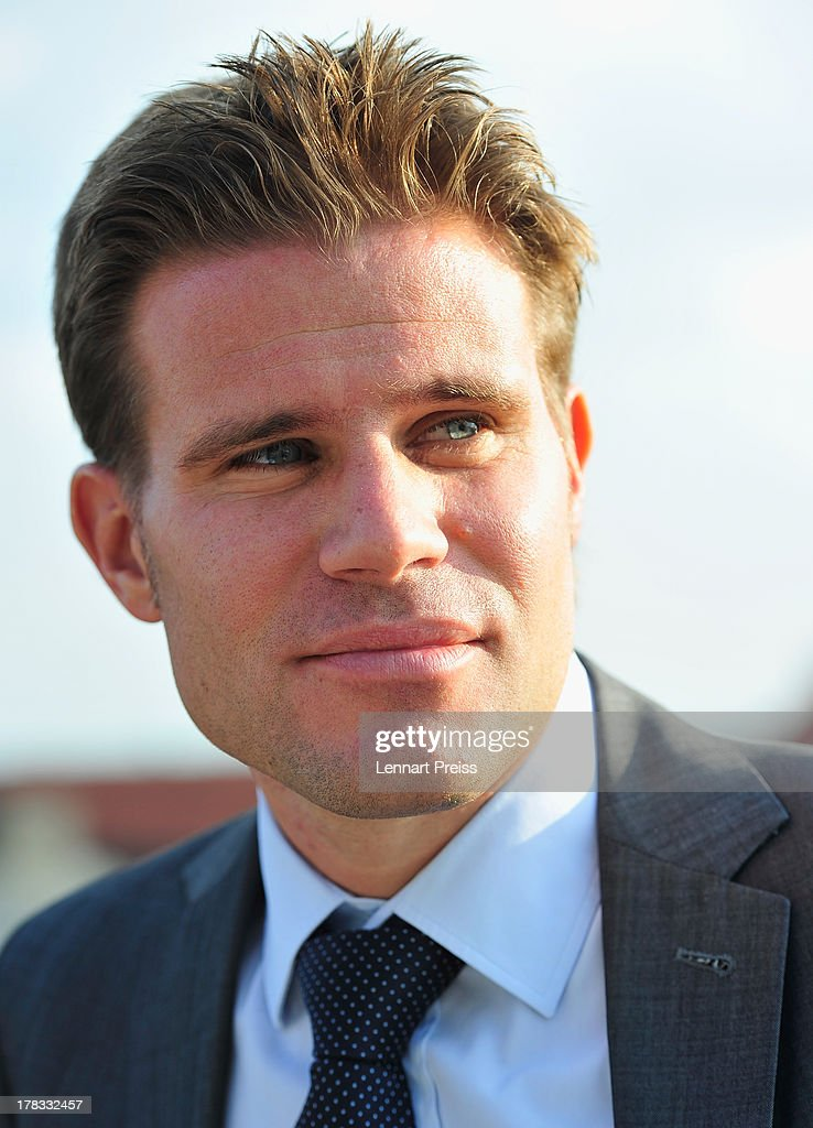 Referee <a gi-track='captionPersonalityLinkClicked' href=/galleries/search?phrase=Felix+Brych&family=editorial&specificpeople=707645 ng-click='$event.stopPropagation()'>Felix Brych</a> looks on during the Referee Of The Year 2013 awarding ceremony at Hotel Bayerischer Hof on August 29, 2013 in Munich, Germany.